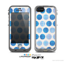 The Vintage Blue Striped Polka Dot Pattern V4 Skin for the Apple iPhone 5c LifeProof Case