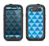 The Vintage Blue Striped Triangular Pattern V4 Samsung Galaxy S3 LifeProof Fre Case Skin Set
