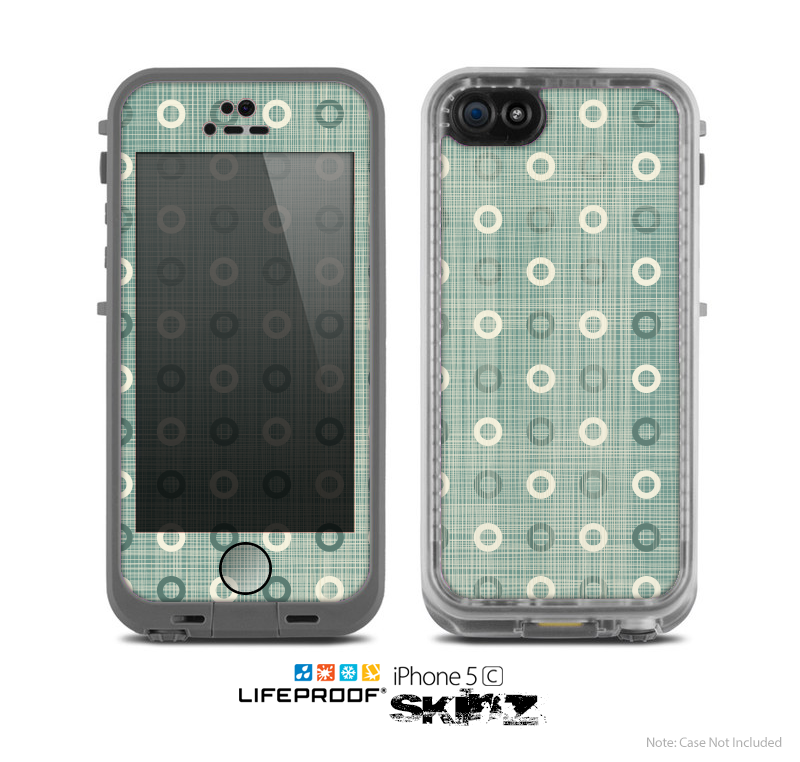 The Vintage Blue & Tan Circles Skin for the Apple iPhone 5c LifeProof Case