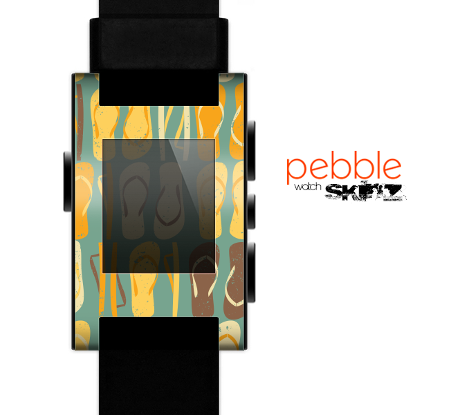 The Vintage Blue & Yellow Flip-Flops Skin for the Pebble SmartWatch