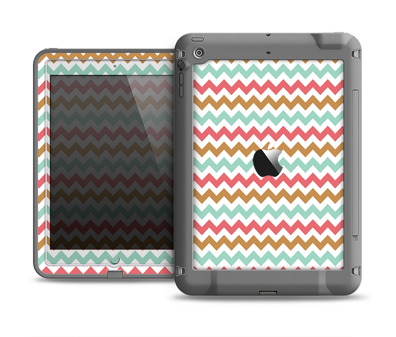 The Vintage Brown-Teal-Pink Chevron Pattern Apple iPad Air LifeProof Fre Case Skin Set