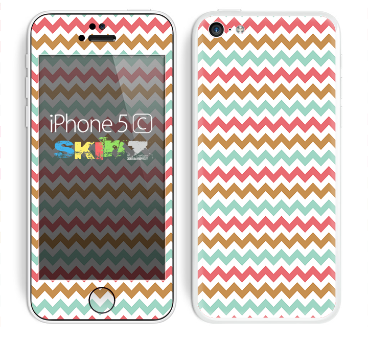 The Vintage Brown-Teal-Pink Chevron Pattern Skin for the Apple iPhone 5c