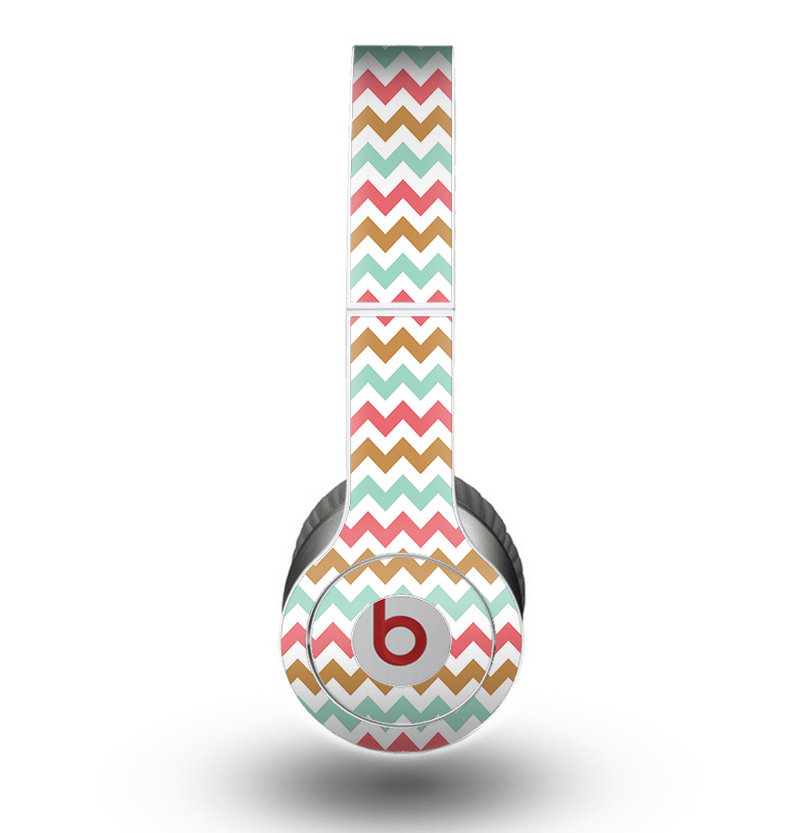 The Vintage Brown-Teal-Pink Chevron Pattern Skin for the Beats by Dre Original Solo-Solo HD Headphones