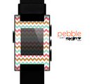 The Vintage Brown-Teal-Pink Chevron Pattern Skin for the Pebble SmartWatch