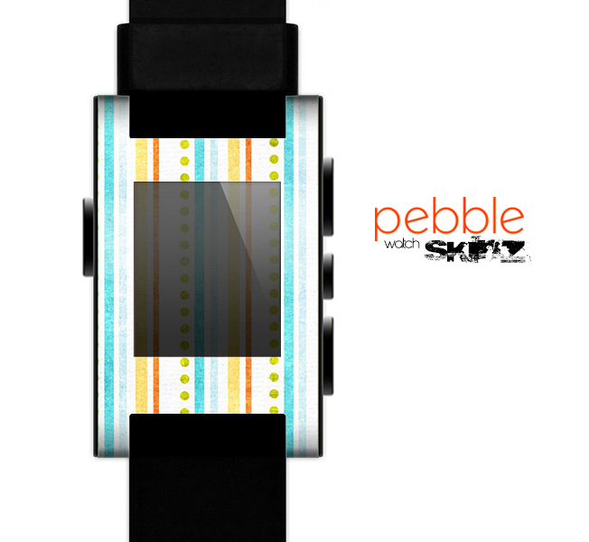 The Vintage Colored Stripes Skin for the Pebble SmartWatch