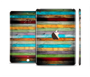 The Vintage Colored Wooden Planks Full Body Skin Set for the Apple iPad Mini 3