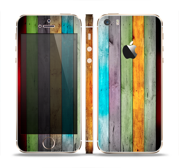 The Vintage Colored Wooden Planks Skin Set for the Apple iPhone 5s