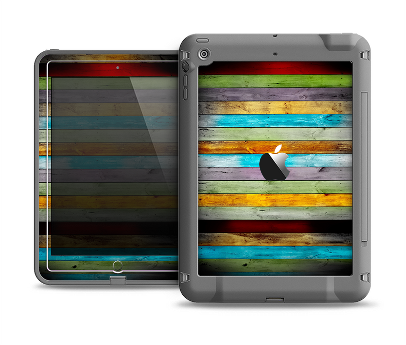 The Vintage Colored Wooden Planks Apple iPad Air LifeProof Fre Case Skin Set