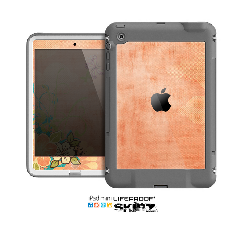 The Vintage Coral Floral Skin for the Apple iPad Mini LifeProof Case