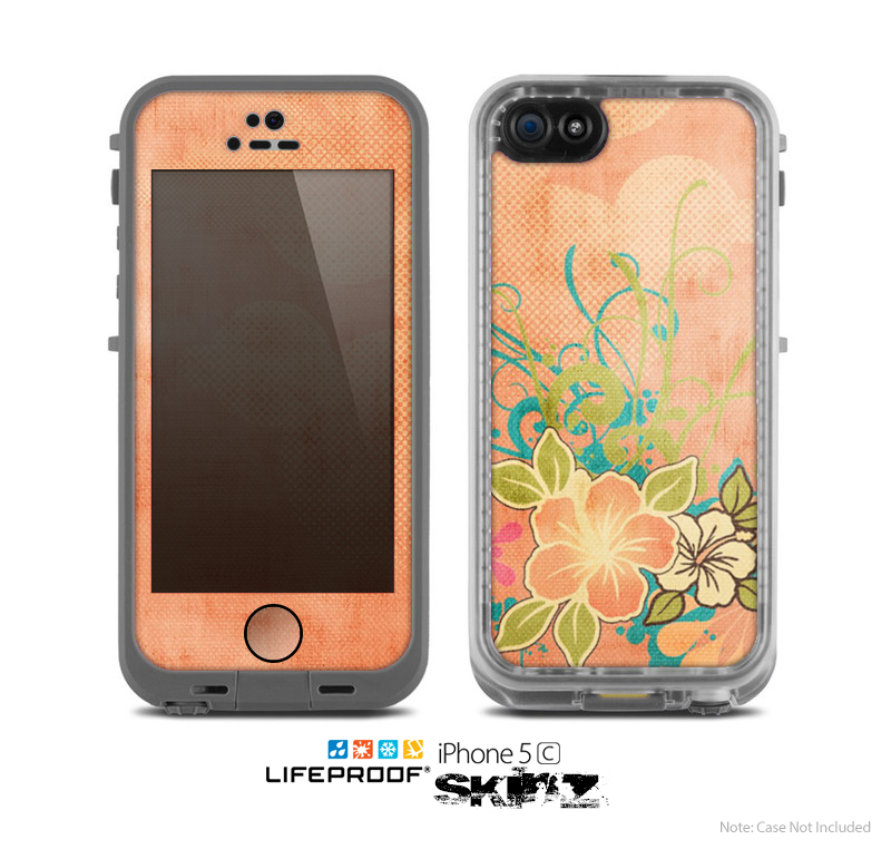 The Vintage Coral Floral Skin for the Apple iPhone 5c LifeProof Case
