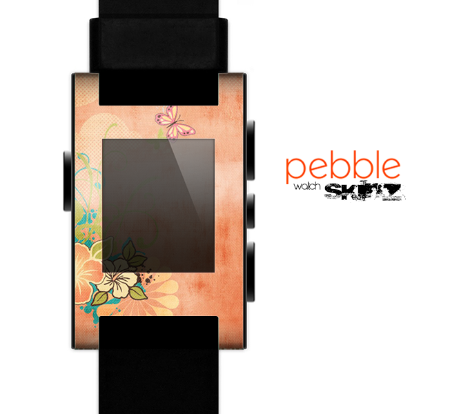 The Vintage Coral Floral Skin for the Pebble SmartWatch