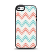 The Vintage Coral & Teal Abstract Chevron Pattern Apple iPhone 5-5s Otterbox Symmetry Case Skin Set