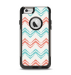 The Vintage Coral & Teal Abstract Chevron Pattern Apple iPhone 6 Otterbox Commuter Case Skin Set