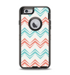 The Vintage Coral & Teal Abstract Chevron Pattern Apple iPhone 6 Otterbox Defender Case Skin Set
