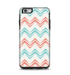 The Vintage Coral & Teal Abstract Chevron Pattern Apple iPhone 6 Plus Otterbox Symmetry Case Skin Set