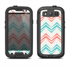 The Vintage Coral & Teal Abstract Chevron Pattern Samsung Galaxy S3 LifeProof Fre Case Skin Set