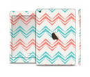 The Vintage Coral & Teal Abstract Chevron Pattern Full Body Skin Set for the Apple iPad Mini 3
