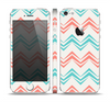 The Vintage Coral & Teal Abstract Chevron Pattern Skin Set for the Apple iPhone 5