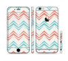 The Vintage Coral & Teal Abstract Chevron Pattern Sectioned Skin Series for the Apple iPhone 6