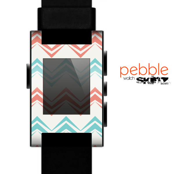 The Vintage Coral & Teal Abstract Chevron Pattern Skin for the Pebble SmartWatch