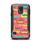 The Vintage Coral and Neon Mustaches Samsung Galaxy S5 Otterbox Commuter Case Skin Set