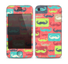 The Vintage Coral and Neon Mustaches Skin for the Apple iPhone 4-4s
