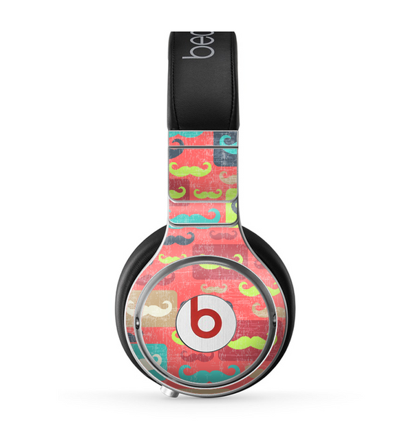The Vintage Coral and Neon Mustaches Skin for the Beats by Dre Pro Headphones