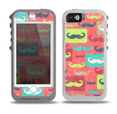 The Vintage Coral and Neon Mustaches Skin for the iPhone 5-5s OtterBox Preserver WaterProof Case