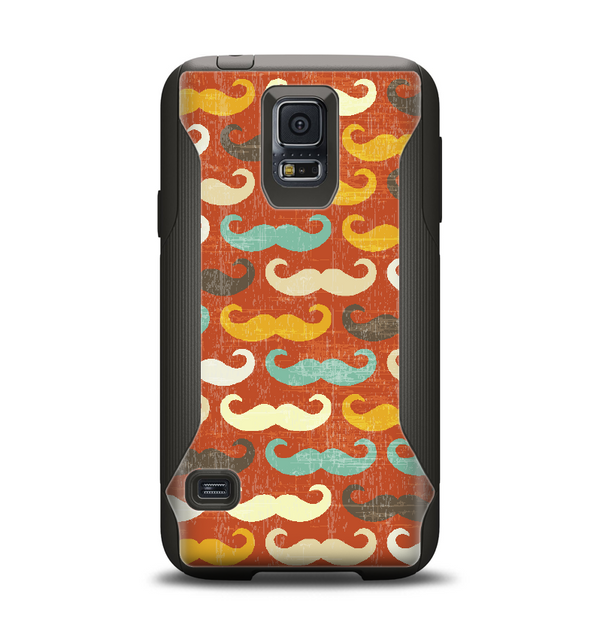 The Vintage Dark Red Mustache Pattern Samsung Galaxy S5 Otterbox Commuter Case Skin Set