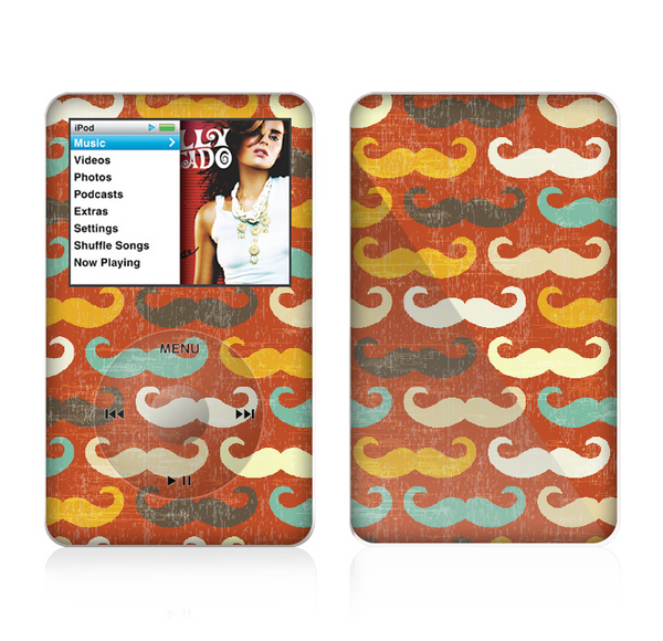 The Vintage Dark Red Mustache Pattern Skin For The Apple iPod Classic
