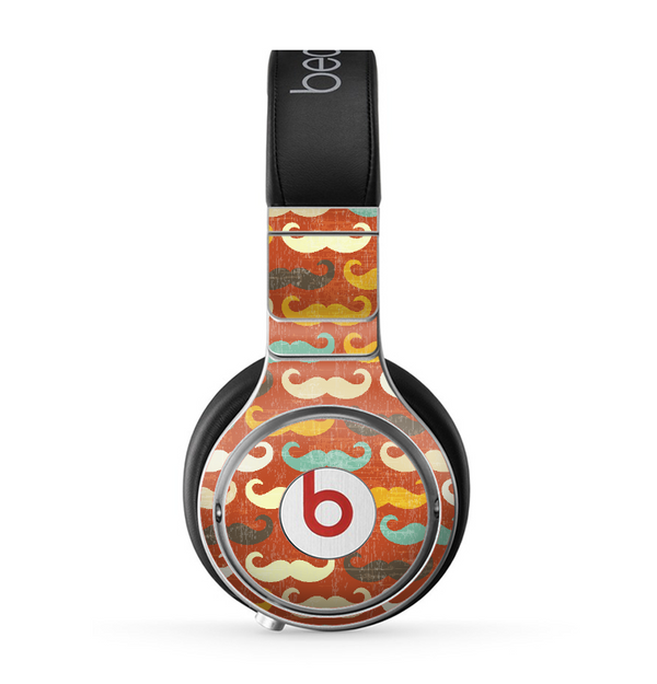 The Vintage Dark Red Mustache Pattern Skin for the Beats by Dre Pro Headphones