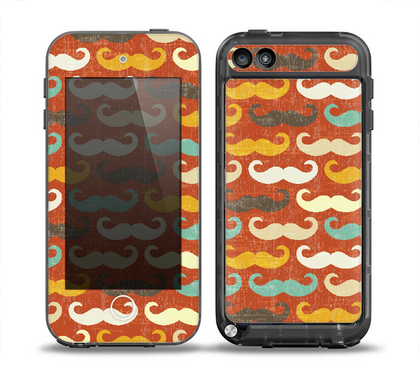 The Vintage Dark Red Mustache Pattern Skin for the iPod Touch 5th Generation frē LifeProof Case