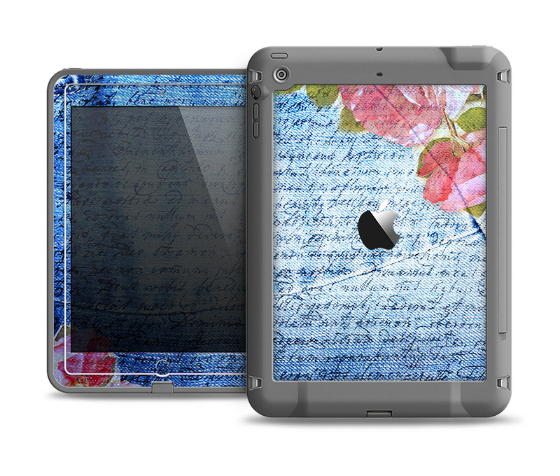 The Vintage Denim & Pink Floral Apple iPad Air LifeProof Fre Case Skin Set