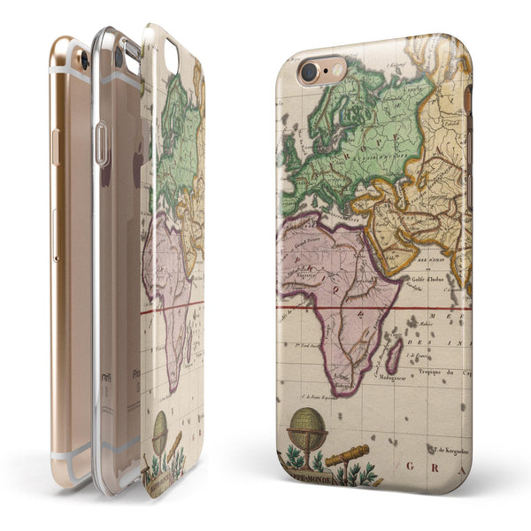 The Vintage Grand Ocean Map iPhone 6/6s or 6/6s Plus 2-Piece Hybrid INK-Fuzed Case