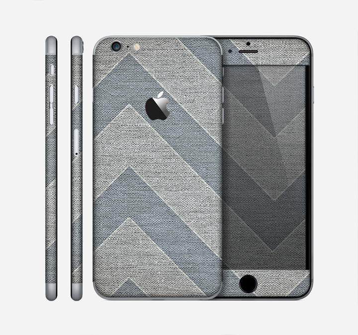The Vintage Gray Textured Chevron Pattern Wide V3 Skin for the Apple iPhone 6 Plus