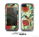 The Vintage Green Floral Vector Pattern Skin for the Apple iPhone 5c LifeProof Case