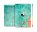The Vintage Green Grunge Texture with Orange Full Body Skin Set for the Apple iPad Mini 3