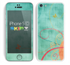 The Vintage Green Grunge Texture with Orange Skin for the Apple iPhone 5c