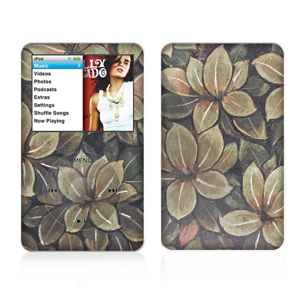 The Vintage Green Pastel Flower pattern Skin For The Apple iPod Classic