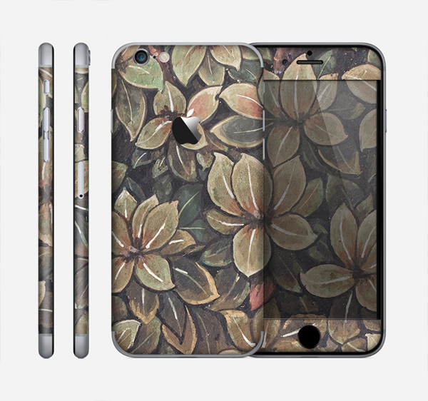 The Vintage Green Pastel Flower pattern Skin for the Apple iPhone 6