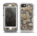 The Vintage Green Pastel Flower pattern Skin for the iPhone 5-5s OtterBox Preserver WaterProof Case