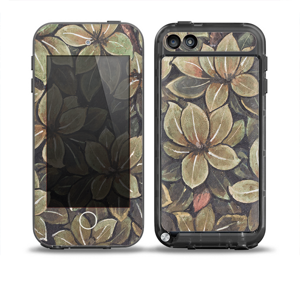 The Vintage Green Pastel Flower pattern Skin for the iPod Touch 5th Generation frē LifeProof Case