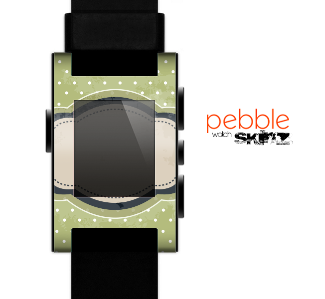 The Vintage Green Polka With Brown Strip Skin for the Pebble SmartWatch