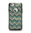 The Vintage Green & Tan Chevron Pattern Apple iPhone 6 Otterbox Commuter Case Skin Set