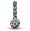 The Vintage Green & Tan Chevron Pattern Skin for the Beats by Dre Mixr Headphones