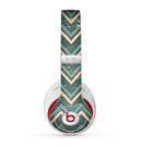 The Vintage Green & Tan Chevron Pattern Skin for the Beats by Dre Studio (2013+ Version) Headphones