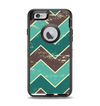 The Vintage Green & Tan Chevron Pattern V2 Apple iPhone 6 Otterbox Defender Case Skin Set