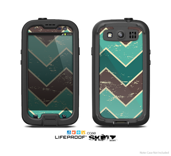 The Vintage Green & Tan Chevron Pattern V3 Skin For The Samsung Galaxy S3 LifeProof Case