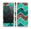 The Vintage Green & Tan Chevron Pattern V2 Skin Set for the Apple iPhone 5s