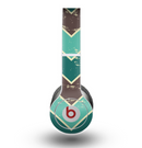 The Vintage Green & Tan Chevron Pattern V2 Skin for the Beats by Dre Original Solo-Solo HD Headphones